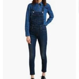 Paige Dark Wash Skinny Cropped Overalls Size 27